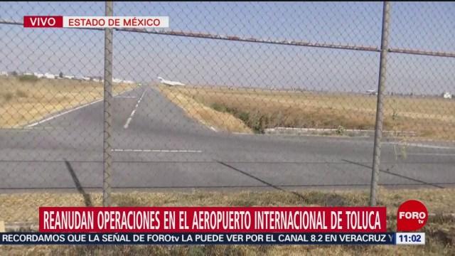 Reanudan operaciones en el aeropuerto de Toluca tras despiste de aeronave