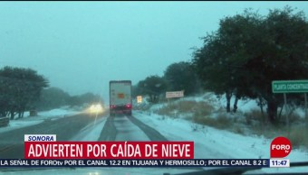 Reportan caída de nieve en municipios de Sonora