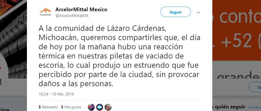 Foto: Reportan explosión en Arcelor Mittal en Lázaro Cárdenas 19 febrero 2019
