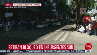 Foto: Retiran bloqueos en Insurgentes Sur, CDMX