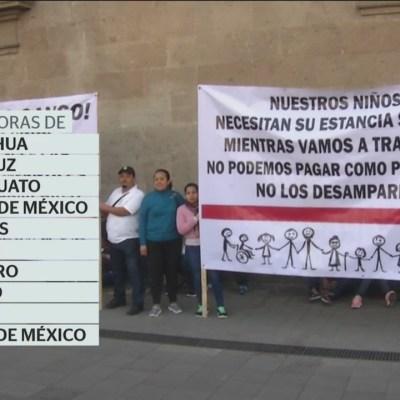 Se manifiestan por recorte a programa de estancias infantiles frente al Palacio Nacional