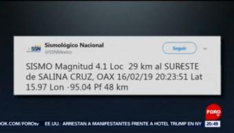 FOTO: Se registró un sismo al sureste de Salina Cruz, Oaxaca, 16 febrero 2019