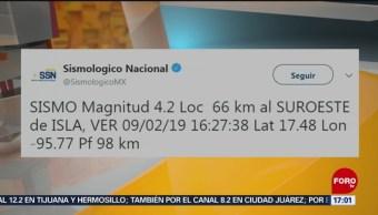 Sismo de magnitud 4.2 sacude al suroeste de Isla, Veracruz