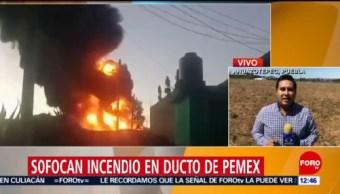Sofocan incendio en ducto de Pemex en Ahuazotepec, Puebla
