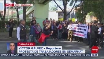Trabajadores de Semarnat protestan en la alcaldía Miguel Hidalgo