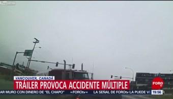 Foto: Tráiler Provoca Accidente Múltiple Canadá 13 de Febrero 2019