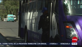 Foto: Transporte público de Iztapalapa, vigilado por policía