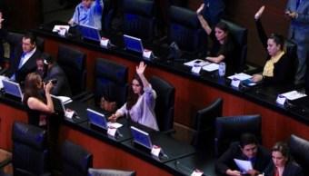 Foto: Los senadores en votación y asistencia, durante la sesión ordinaria del pleno del Senado de la República, Ciudad de México, febrero 26 de 2019 (Notimex)