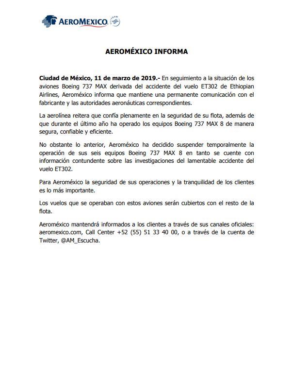 Foto: Aeroméxico suspende operación de aviones 12 marzo 2019