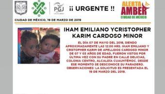 Alerta Amber Iham Emiliano y Cristopher Karim Cardoso Minor 20 marzo 2019