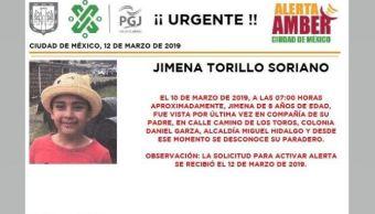 Foto Alerta Amber para ayudar a localizar a Jimena Torillo Soriano 12 marzo 2019