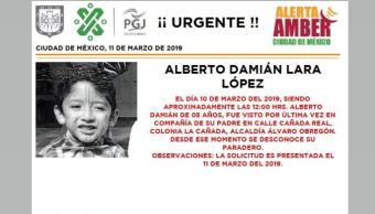 Foto: Alerta Amber para localizar a Alberto Damián Lara López 11 marzo 2019
