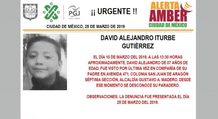 Foto: Alerta Amber para localizar a David Alejandro Iturbe Gutiérrez 26 marzo 2019