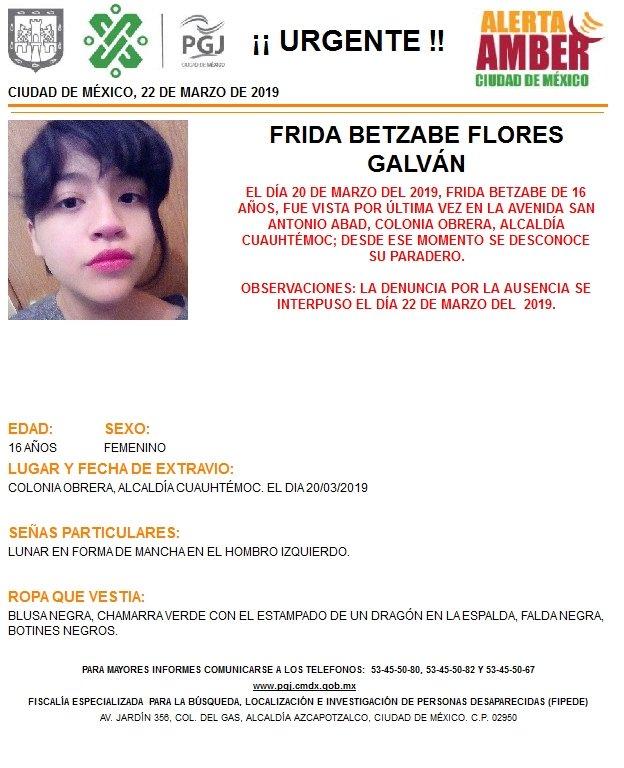 Foto Alerta Amber para localizar a Frida Betzabe Flores Galván 22 marzo 2019