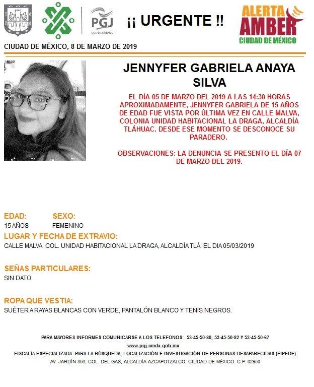 Foto: Alerta Amber para localizar a Jennyfer Gabriela Anaya Silva 8 marzo 2019
