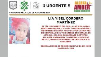 Foto: Alerta Amber para localizar a Lía Yisel Cordero Martíne 19 marzo 2019