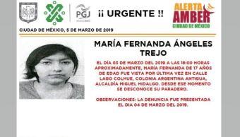 Foto: Alerta Amber para localizar a María Fernanda Ángeles Trejo 6 marzo 2019