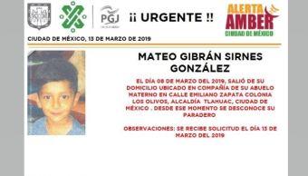 Foto: Alerta Amber para localizar a Mateo Gibrán 13 marzo 2019