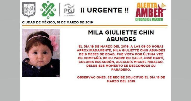 Foto: Alerta Amber para localizar a Mila Giuliette Chin Abundes 19 marzo 2019