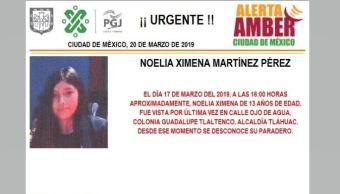 Foto Alerta Amber Noelia Ximena Martínez Pérez 20 marzo 2019