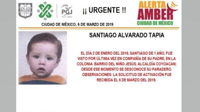 Foto: Alerta Amber para localizar a Santiago Alvarado Tapia 7 marzo 2019