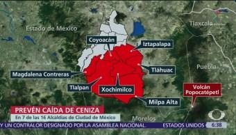 Alerta por posible caída de ceniza en 7 alcaldías CDMX
