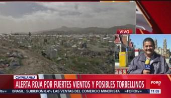Alerta roja por fuertes vientos y posibles torbellinos en Chihuahua