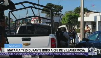 Asesinan a policía durante robo a CFE en Villahermosa