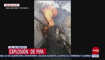 Así controlaron el incendio de una pipa de gas en Milpa Alta
