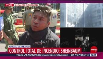 FOTO: Bomberos relatan las labores para controlar el incendio en edificio de Conagua,23 Marzo 2019
