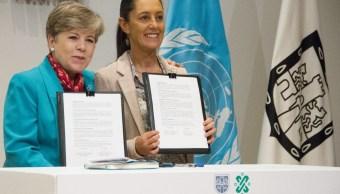 Foto: Claudia Sheinbaum, jefa del Gobierno, y Alicia Bárcena secretaria General de la Cepal, firmaron un convenio, Ciudad de México, marzo 5 de 2019 (Cuartoscuro)