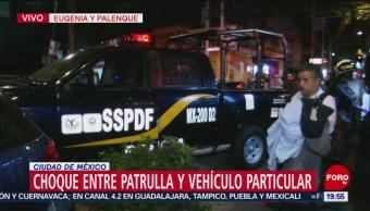 Foto: Choca Patrulla Vehículo Particular Cdmx 13 Marzo 2019