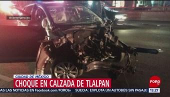 FOTO: Chocan autos tras 'carreritas' en Tlalpan, 10 marzo 2019