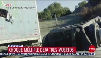 FOTO:Choque múltiple deja tres muertos en Michoacán, 24 Marzo 2019