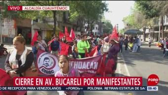 Foto: Cierran av. Bucareli por manifestaciones
