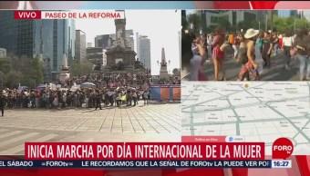 FOTO: Cierran carriles centrales de Reforma por marcha de mujeres, 8 MARZO 2019