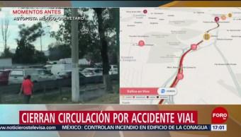 FOTO:Cierran circulación por accidente vial en autopista México-Querétaro, 23 Marzo 2019