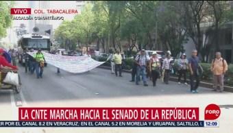 CNTE marcha hacia Senado de la República