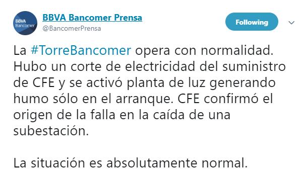 IMAGEN Se registra columna de humo en Torre Bancomer CDMX (Twitter Bancomer Prensa 14 marzo 2019