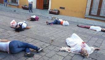 Foto: Performance feminicidio, Oaxaca conmemora Día de la Mujer 8 marzo 2019