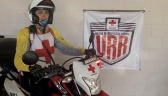 Foto: Karla Noemí Guzmán Romero es la primera mujer en México que maneja una Unidad de Respuesta Rápida o motocicleta en la Cruz Roja, marzo 18 de 2019 (Notimex)