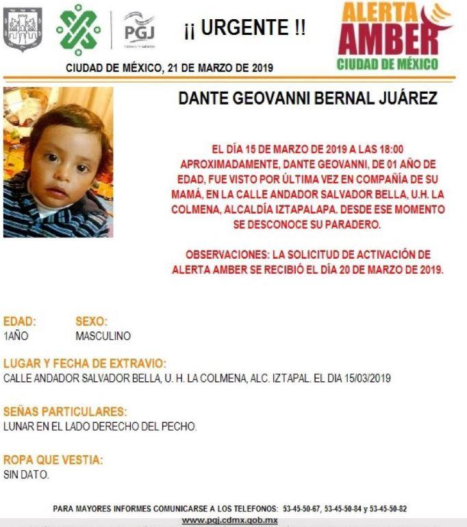 Foto: Activan Alerta Amber para localizar a Dante Geovanni Bernal en CDMX, 21 marzo 2019