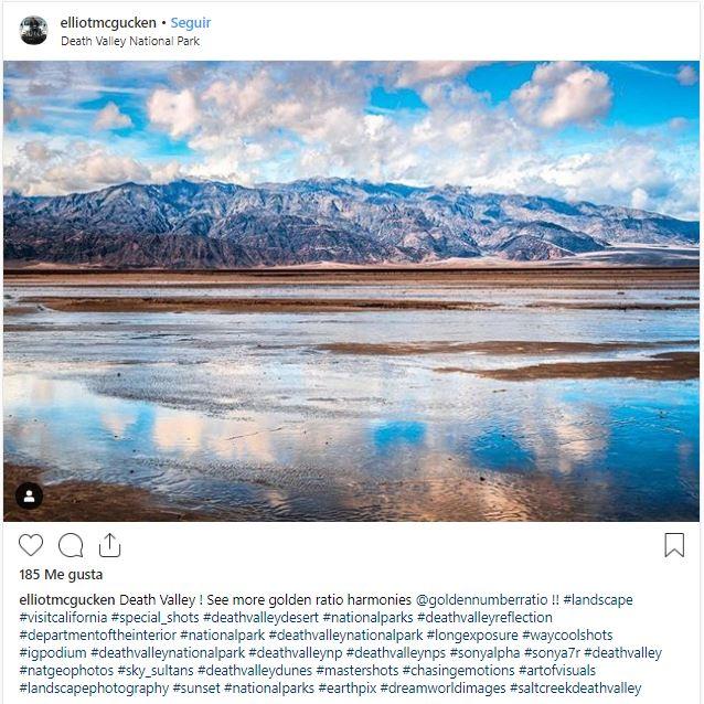 Elliot McGucken capturó el paisaje de Death Valley inundado el pasado lunes 11 de marzo (Instagram @elliotmcgucken)