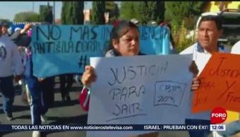 Estudiantes marchan en Metepec, Edomex, por compañero atropellado