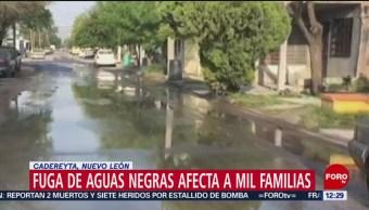 Fuga de aguas negras afecta a mil familias en Nuevo León