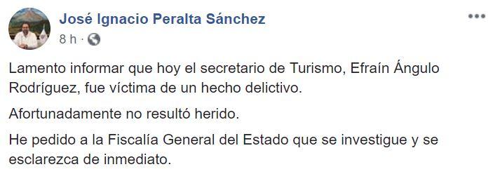 Gobernador de Colima lamenta delito en contra del secretario de Turismo