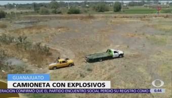 Hallan camioneta con explosivos en Guanajuato