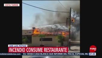 FOTO: Incendio consume restaurante en San Luis Potosí, 24 Marzo 2019