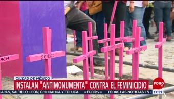 FOTO: Instalan monumento para repudiar los feminicidios, 25 marzo 2019