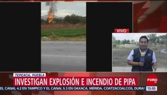 Foto: Investigan explosión e incendio en Tepeaca, Puebla